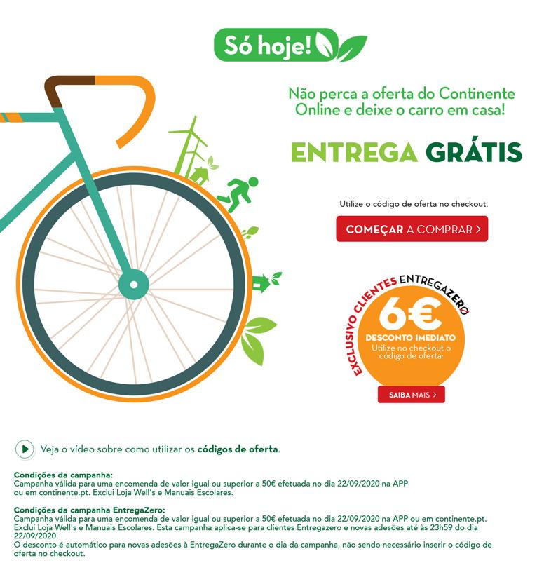 Dia Europeu sem Carros - 22 de Setembro - Não perca a oferta do Continente Online e deixe o carro em casa!
