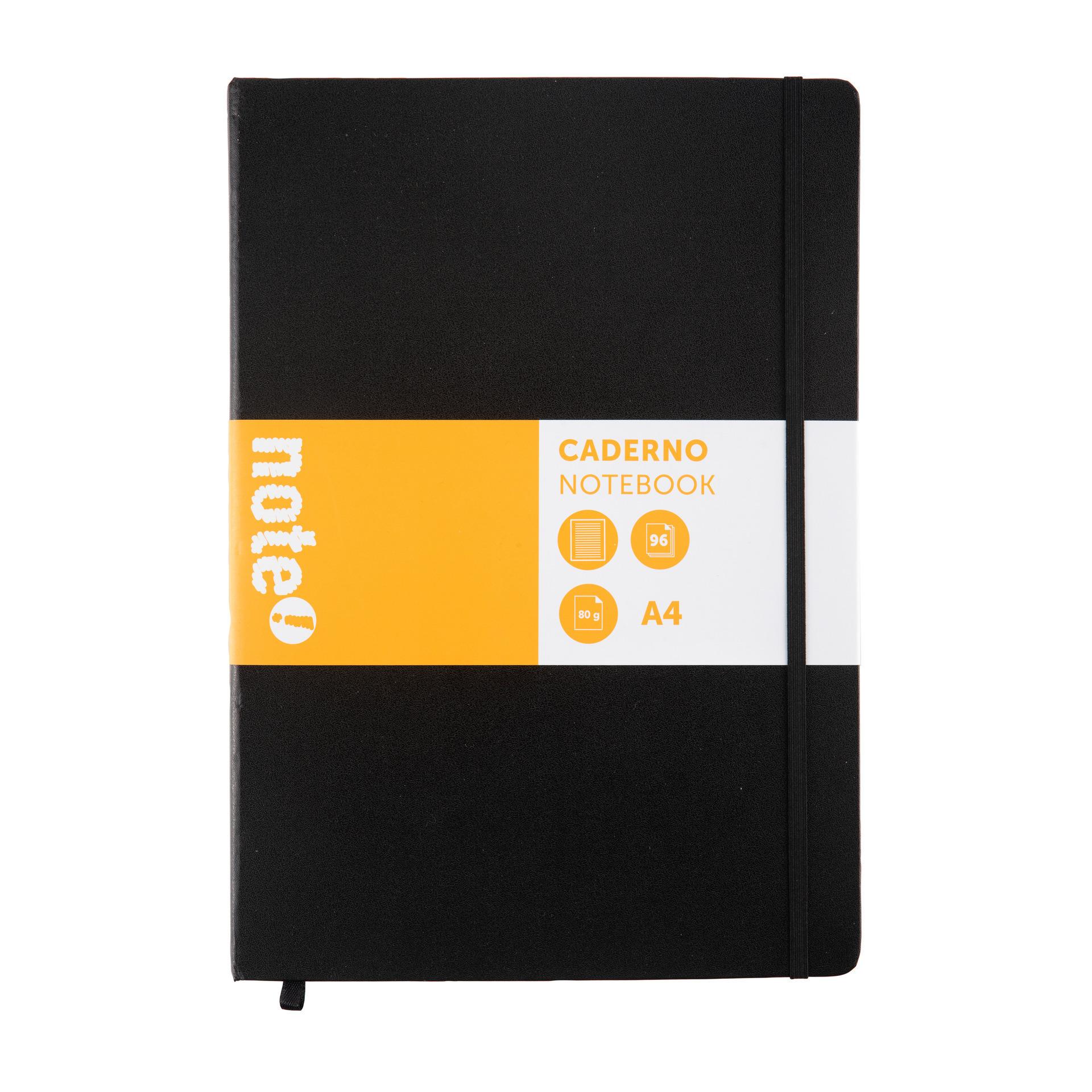 Caderno Pautado Preto com Elástico A4 note!