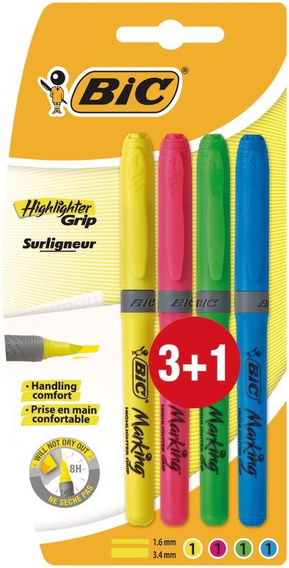 Marcador Fluorescente Brite Liner 3+1unid Bic
