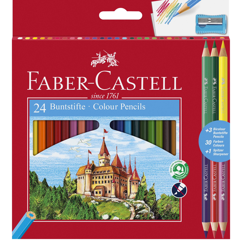 Lápis de Cor 24unid + 3 Lápis Bicolor + Apara Lápis Faber Castell