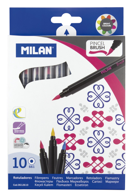 Marcadores pincel Brush Pen Milan conjunto de 10 cores