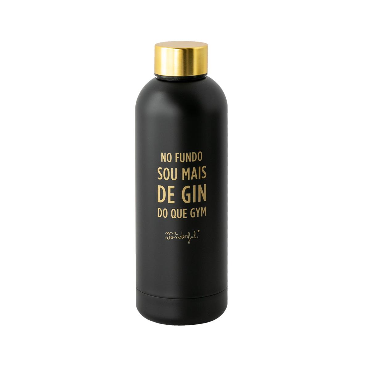 Garrafa Black&Gold - No Fundo Sou Mais de Gin Do Que Gym