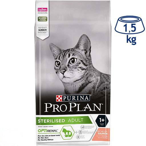 Ração para Gato com Optirenal Salmão Esterilizado Purina Pro Plan (emb. 1,5 kg)