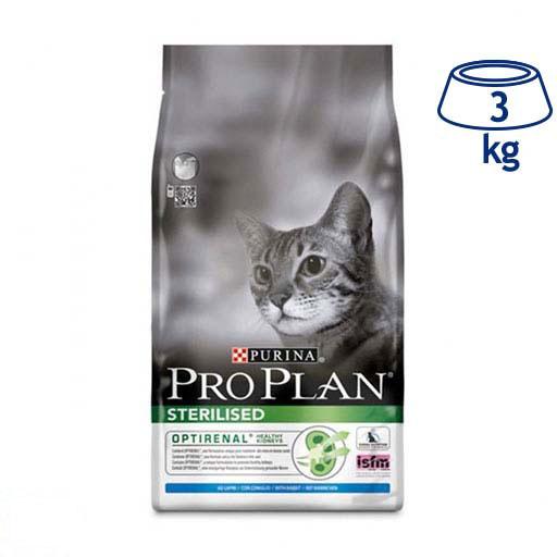 Ração para Gato Optirenal Esterilizado Coelho Purina Pro Plan (emb. 3 kg)