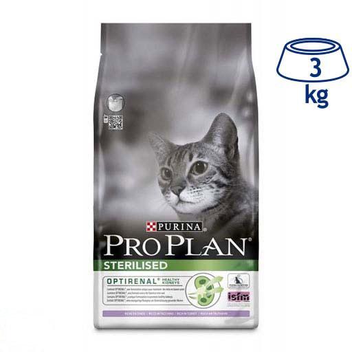 Ração para Gato Adulto Optirenal Esterilizado Peru Purina Pro Plan (emb. 3 kg)