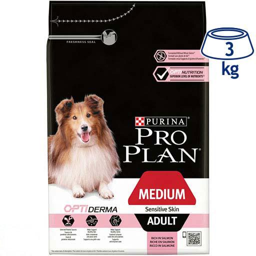 Ração para Cão Medium Adulto Pele Sensível com Optiderma Purina Pro Plan (emb. 3 kg)