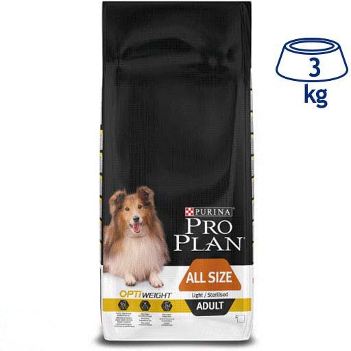 Ração para Cão Adulto Light/Esterilizado com Optiweight Purina Pro Plan (emb. 3 kg)