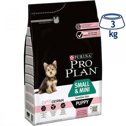 Ração para Cão Mini Júnior pele Sensível com Optiderma Purina Pro Plan (emb. 3 kg)