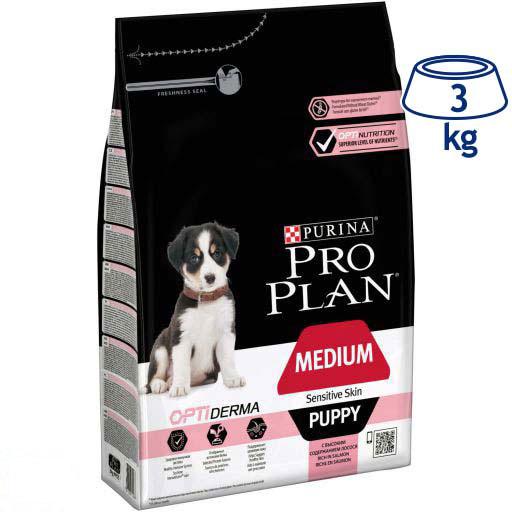 Ração para Cão Medium e Maxi Júnior Pele Sensível com Optiderma Purina Pro Plan (emb. 3 kg)