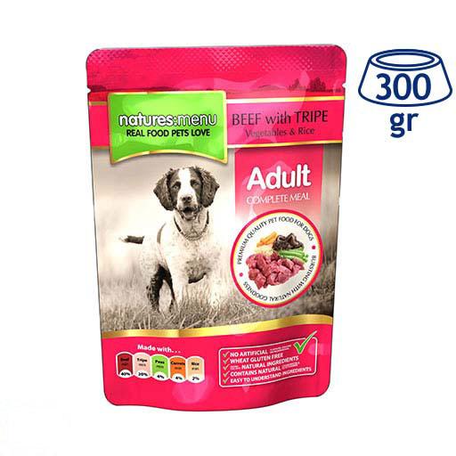 Comida Húmida para Cão Saquetas Carne de Vaca e Tripa Natures Menu (emb. 300 gr)