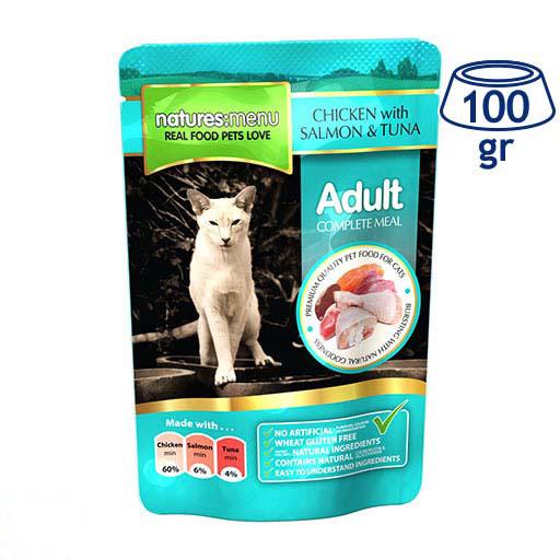 Comida Húmida para Gato Saquetas Frango, Salmão e Atum Natures Menu (emb. 100 gr)