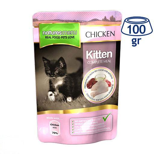 Comida Húmida para Gato Júnior Saquetas Frango Natures Menu (emb. 100 gr)