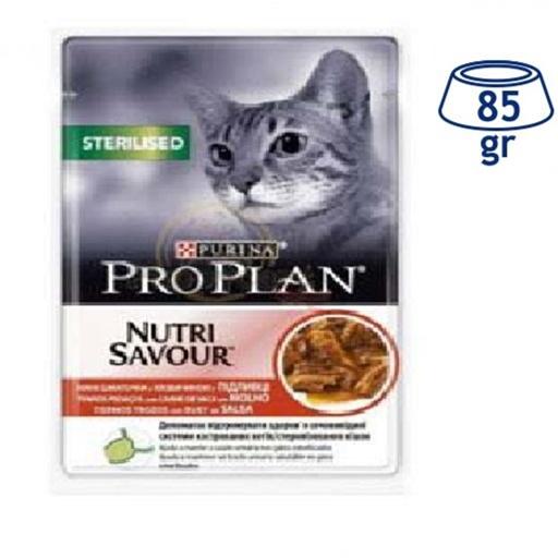 Comida Húmida para Gato Esterilizado Vaca Purina Pro Plan (emb. 85 gr)