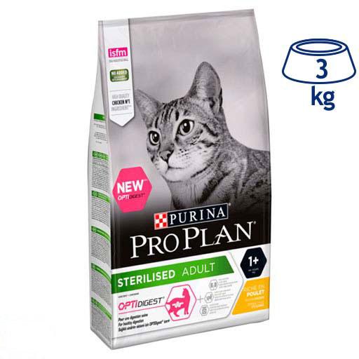 Ração para Gato Esterilizado Frango Purina Pro Plan (emb. 3 kg)