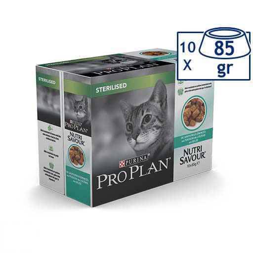 Comida Húmida para Gato Steril Peixe Purina Pro Plan (emb. 10 x 85 gr)