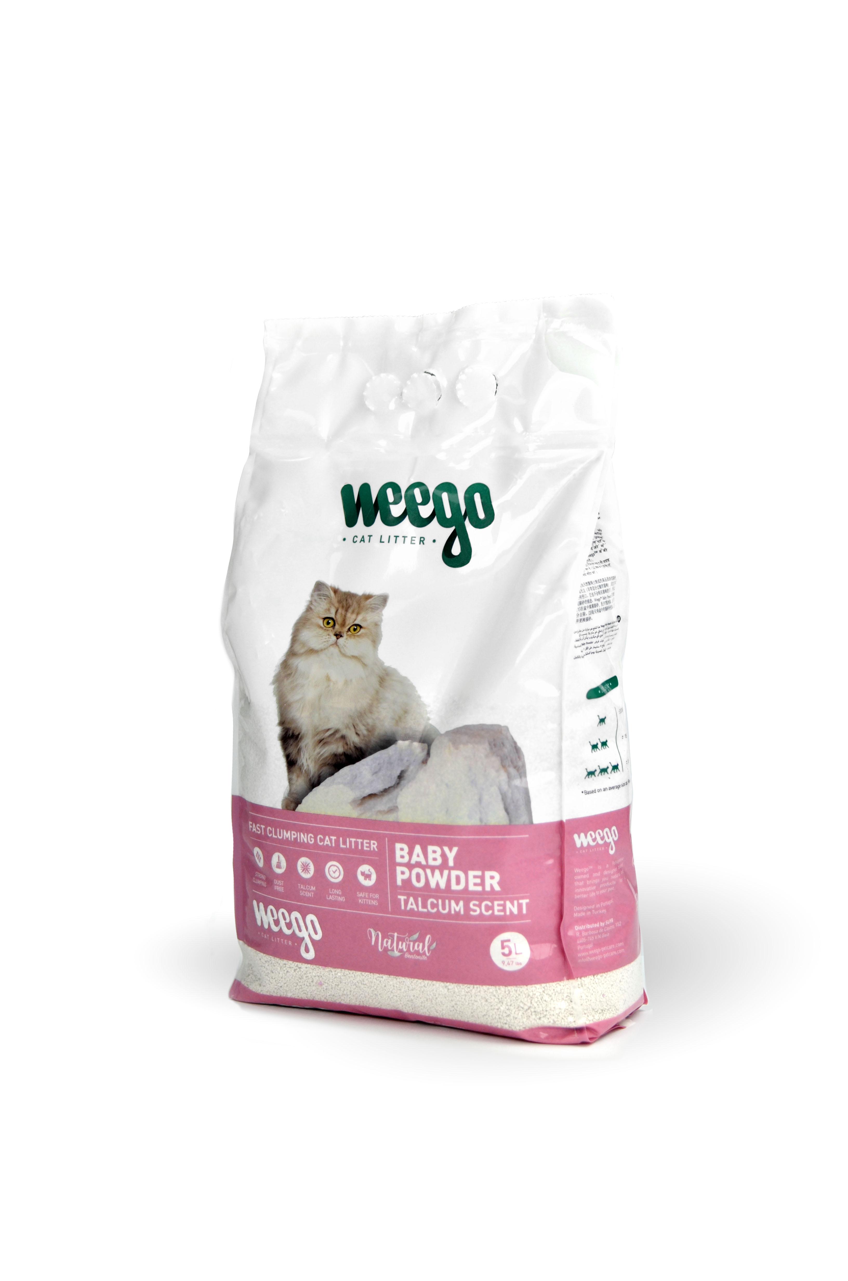 Areia para Gato Aglomerante Weego Baby Powder 5 lt