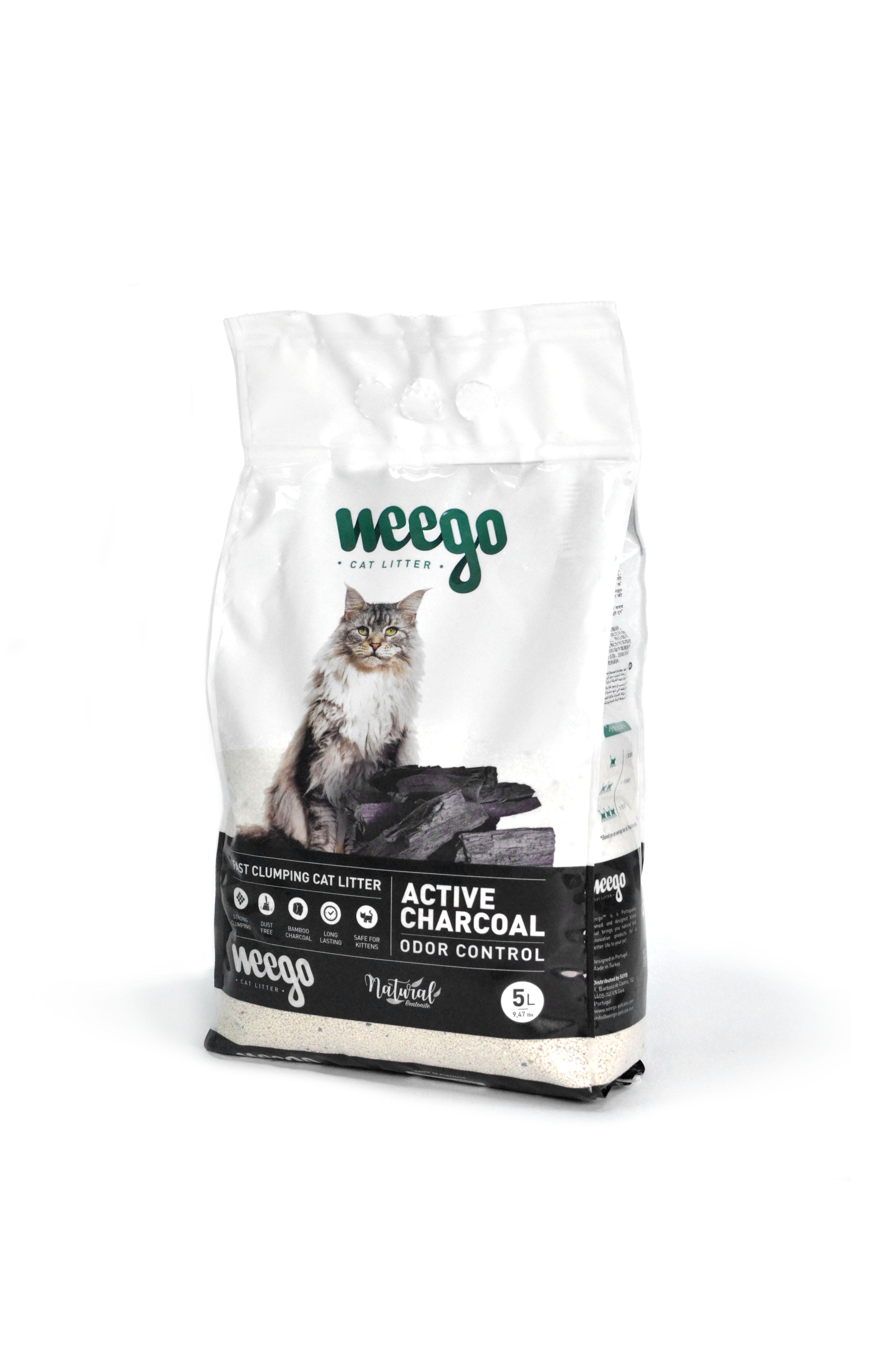 Areia para Gato Aglomerante Weego Active Charcoal 5 lt