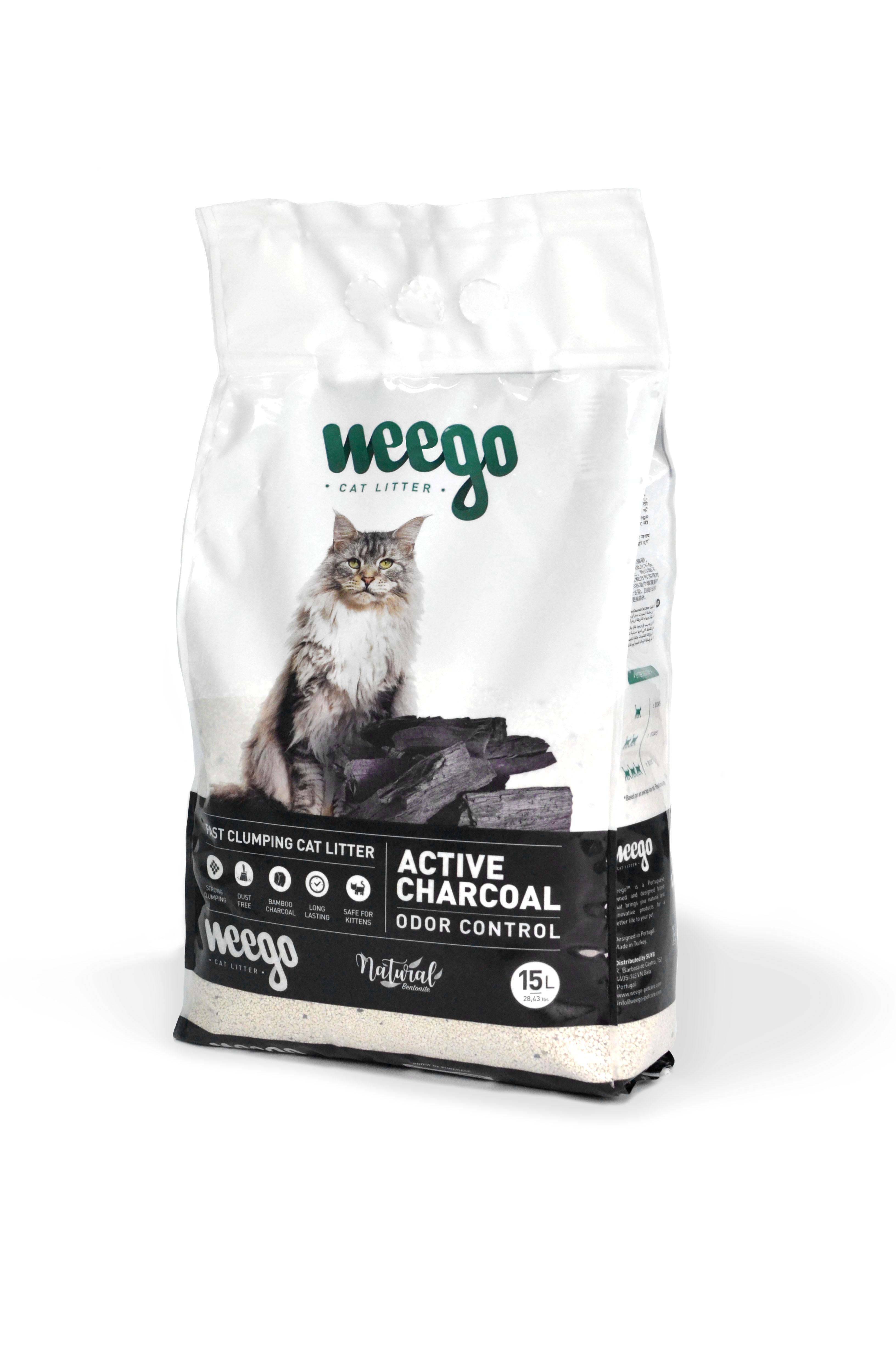 Areia para Gato Aglomerante Weego Active Charcoal 15 lt